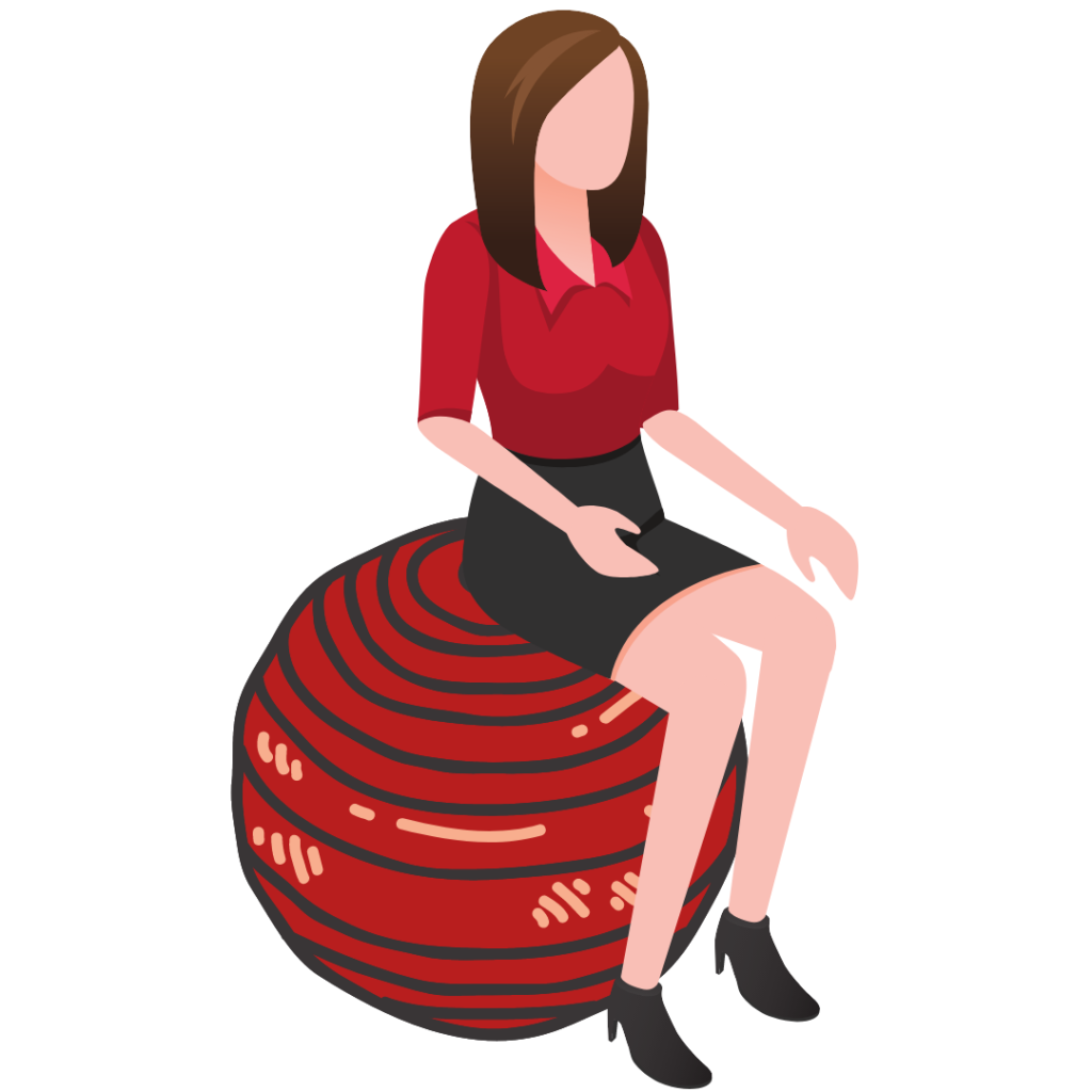 Position assise pour télé-travail sur un ballon swissball